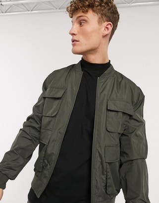 New Look 4 pocket utility bomber jacket in khaki