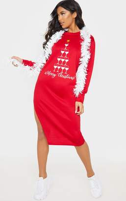 PrettyLittleThing Red Merry Christmas Midi Jumper Dress