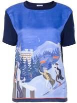 Moncler Women's Blue Silk T-shirt.