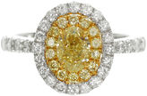 MODERN BRIDE Womens 1 1/2 CT. T.W. Oval Yellow Diamond 18K Gold Engagement Ring