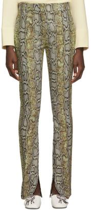 Victoria Beckham Khaki Side Split Snake Skinny Trousers