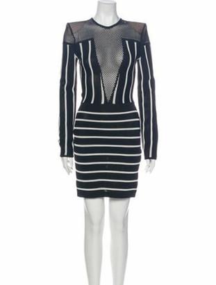 Balmain Striped Knee-Length Dress w/ Tags Black