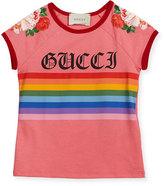 Gucci Rainbow Loved Logo T-Shirt, Size 4-12