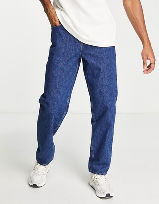 ASOS DESIGN baggy jeans in mid wash blue