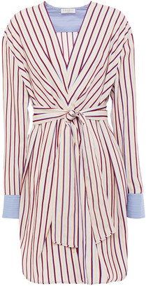 Sandro Paige Belted Gathered Striped Twill Mini Dress