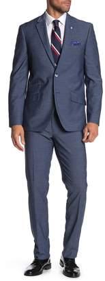 Ben Sherman Mid Blue Two Button Notch Lapel Trim Fit Suit