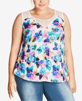 City Chic Plus Size Lace-Trim Pixel-Print Top