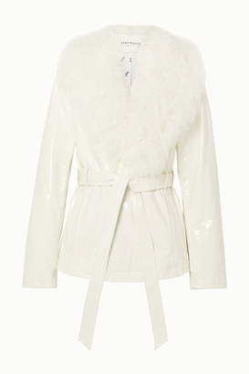 Saks Potts Ritual Belted Shearling-trimmed Patent-leather Jacket - White