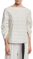 Tibi Striped Shirting Boat-Neck Top, White