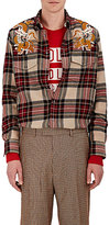 Gucci Men's Dragon-Embroidered Plaid Wool Shirt
