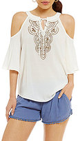 I.N. San Francisco Cold-Shoulder Beaded Front Top