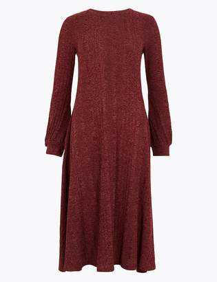 Marks and Spencer Jersey Cuff Sleeve Swing Midi Dress