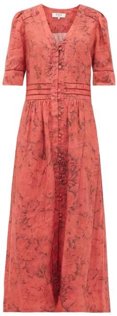 Sea Mimi Floral-print Cotton Shirtdress - Womens - Red Print