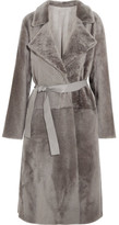 Yves Salomon Reversible Belted Shearling Coat - Gray