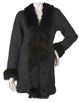 As Is Dennis Basso Wool Blend Sweater Coat w/ Faux Fur Trim Detail