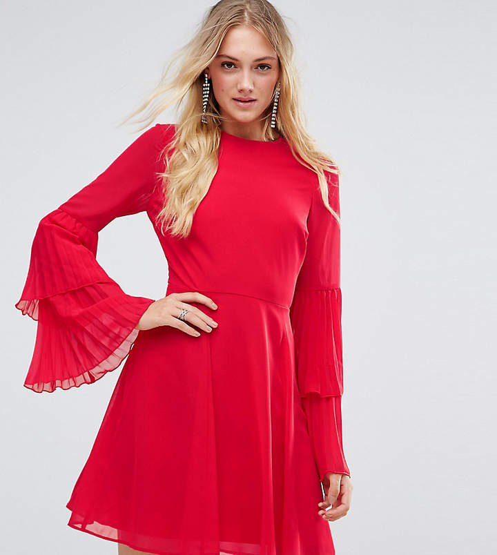 Asos Tall TALL Triple Pleated Sleeve Mini Skater Dress