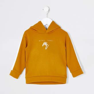 River Island Mini boys mustard Mini Rebel tape hoodie