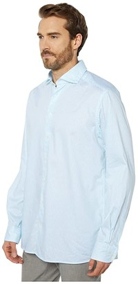 Eton Contemporary Fit Light Stripe Button-Down (Blue) Men's Clothing
