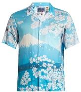 Blue Blue Japan Japan-print short-sleeved cotton shirt