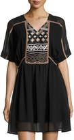 philosophy Extended Shoulder Embroidered Dress, Black