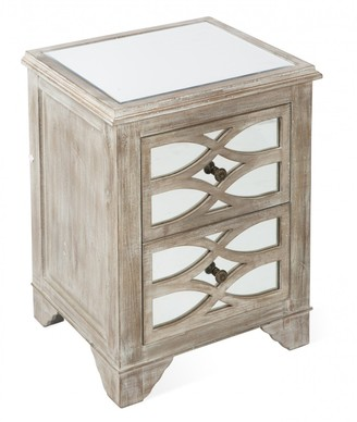 Home & Giftware Lattice Mirrored 2 Drawer Bedside