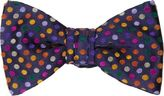 Duchamp Men's Polka-Dot Silk Jacquard Bow Tie-NAVY