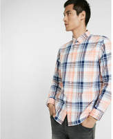 Express soft wash plaid button collar shirt