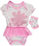 """Duck Duck Goose Baby Girls' """"Glitter Stem"""" Bodysuit/Dress Combo with Socks"""
