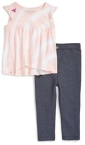 Infant Girl's Burt's Bees Baby Tie Dye Organic Cotton Tunic & Denim Leggings Set