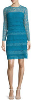 Burberry Long-Sleeve Lace Sheath Dress, Light Cornflower Blue