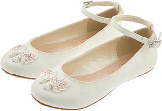 Monsoon Kylie Crystal Bow Shimmer Ballerina Shoes Ivory