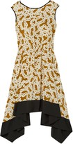 Diane von Furstenberg Asymmetric Printed Silk Crepe De Chine Dress