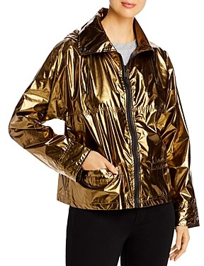 Yves Salomon Hooded Metallic Raincoat