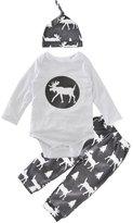 XUNYU Newborn Baby Boys Long Sleeve Tops T-shirt Pants Hat 3pcs Outfits Set