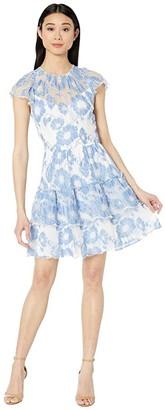ML Monique Lhuillier Short Sleeve Floral Lace Dress and Ruffles (White/Cornflower Combo) Women's Dress