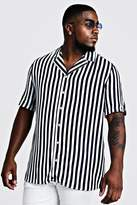 BoohoomanBoohooMAN Mens Navy Big & Tall Revere Collar Stripe Shirt, Navy