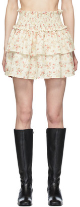 Wandering White and Pink Floral Layered Miniskirt
