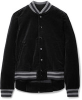 The Great The Swingy Asymmetric Cotton-velvet Bomber Jacket - Black