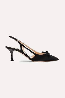 Prada 65 Bow-embellished Satin Slingback Pumps - Black
