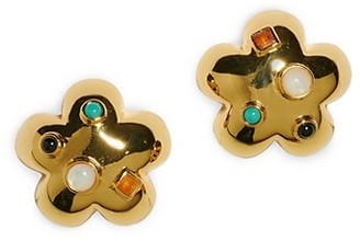 Lizzie Fortunato 18K Goldplated Multi-Stone Cabochon Daisy Stud Earrings