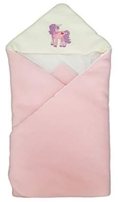 Camilla And Marc BlueberryShop Luxurious Fleece Very Warm Swaddle Wrap, Blanket, Sleeping Bag Baby Shower Gift Present 0-3m (0-3m) (78 x 78 cm) Pink Unicorn