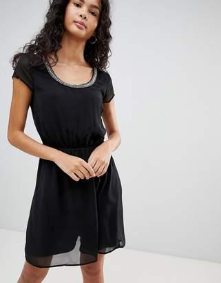 Only Nete Dafne Dress with Beaded Neck Trim-Black