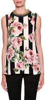 Dolce & Gabbana Sleeveless Stripes & Rose Print Silk Blouse
