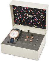 Fossil Women's Jacqueline Blue Leather Strap Watch & Stud Earrings Box Set 36mm ES4140SET