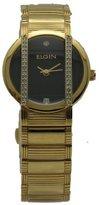Elgin EG460 Women's Round Analog Austrian Crystal Solid Link Gold Tone Watch