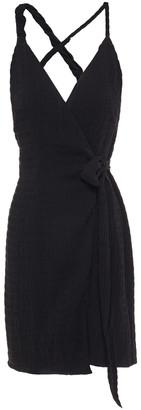 Nanushka Deja Twisted Cloque Mini Wrap Dress