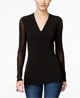 INC International Concepts Petite Illusion-Sleeve V-Neck Blouse, Created for Macy's