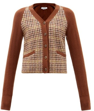 RE/DONE Houndstooth-check And Ribbed-knit Cardigan - Brown