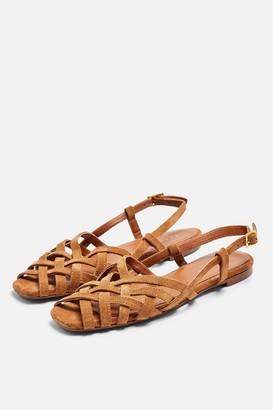 Topshop Womens Olivia Strappy Slingback Sandals - Tan