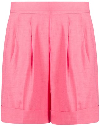 Hebe Studio Pleat Detail Turn-Up Cuff Shorts